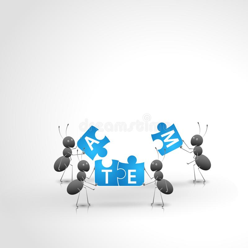 Hardworking ants working as a team. Hardworking ants work as a team to build a puzzle royalty free illustration