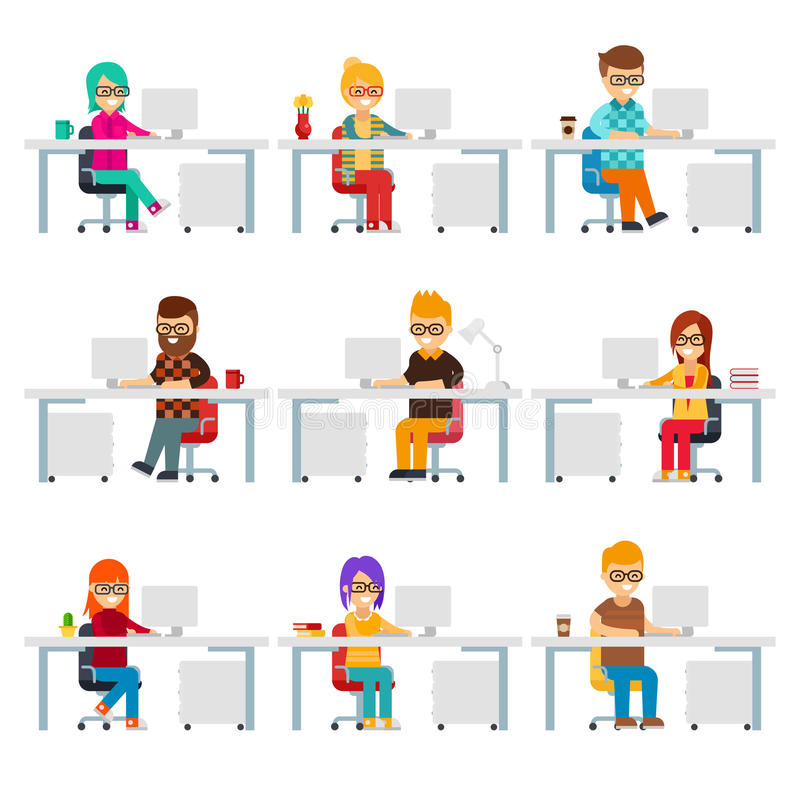 Hardworking creative people work in the office with computers vector flat design. Funny office workers are in workplaces. Men and women are in colorful clothes royalty free illustration
