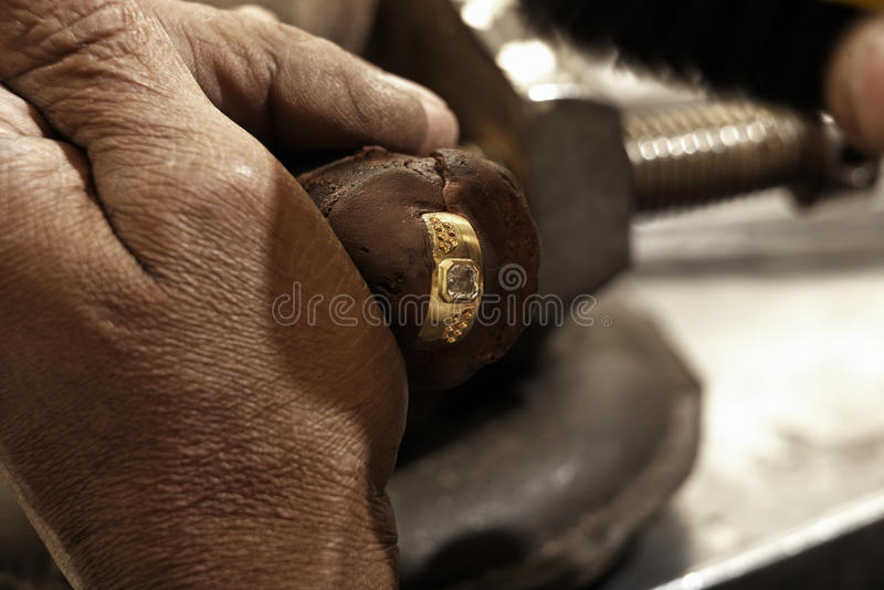 Hardworking Goldsmith Royalty Free Stock Image