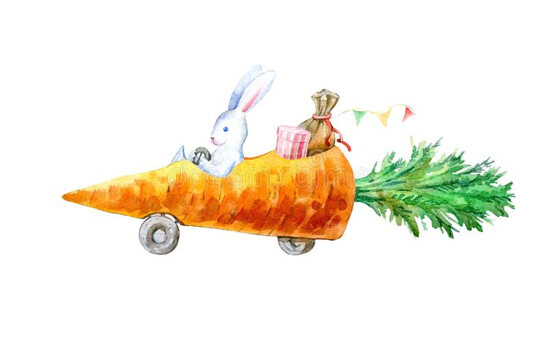 Hare on a carrot machine.Travel sketch. White background.Watercolor hand drawn illustration vector illustration