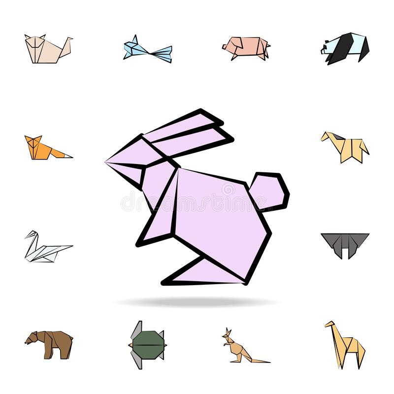 Hare colored origami icon. Detailed set of origami animal in hand drawn style icons. Premium graphic design. One of the collection. Icons for websites, web vector illustration