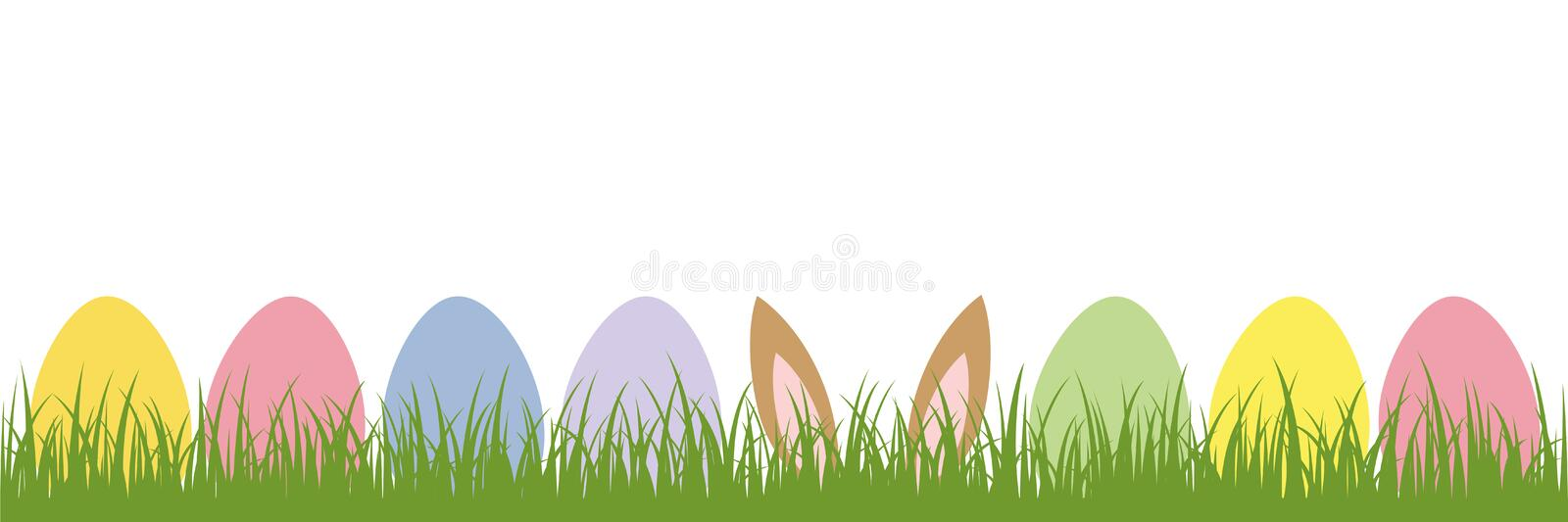 Hare ears in the meadow between colorful Easter eggs vector illustration
