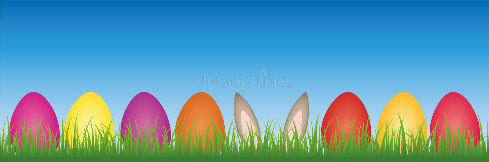 Hare ears in the meadow between colorful Easter eggs royalty free illustration
