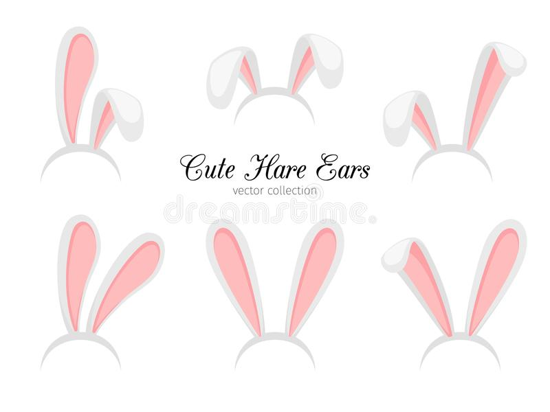 Hare ears. Vector funny cartoon easter rabbit or bunny ears band for costume design isolated on white background vector illustration
