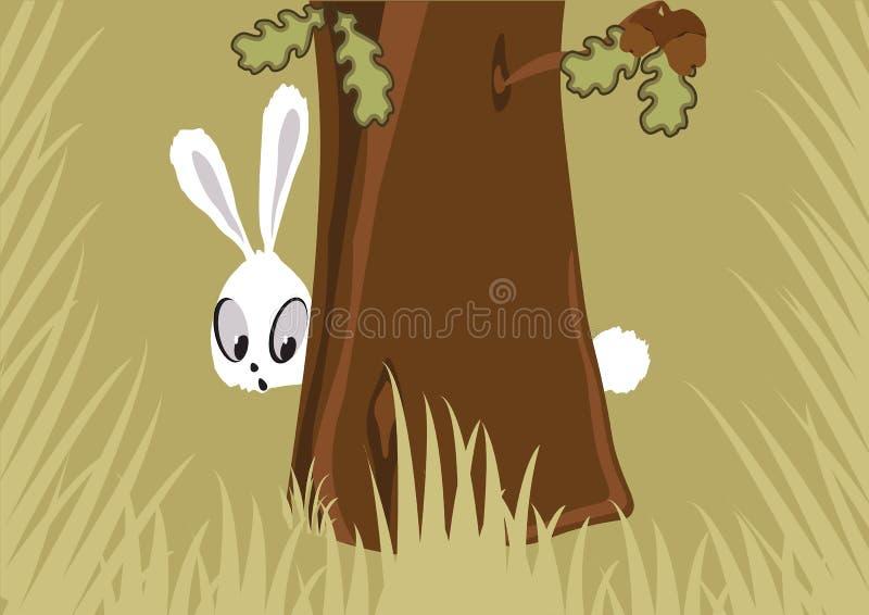 Hare i skogen vektor illustrationer