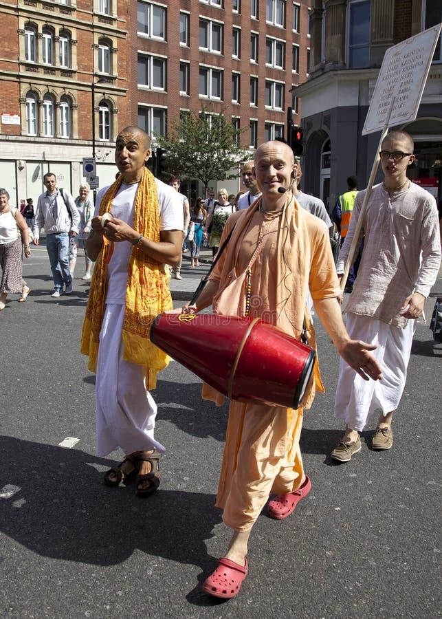 Hare Krishna crossing raod stock photo