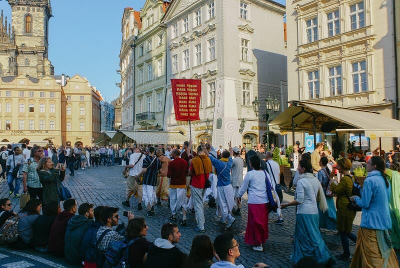 Hare Krishna Festival i Prague royaltyfria foton