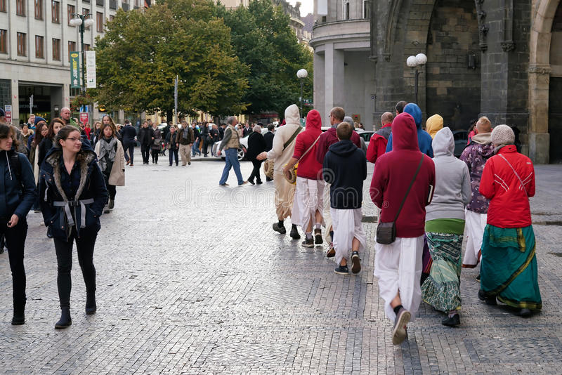 Hare Krishna followers. Walk through the Old Town of Prague royalty free stock photography