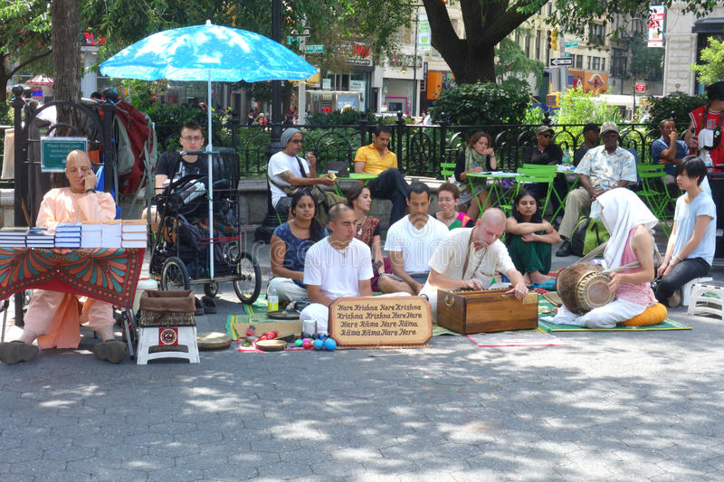 Hare Krishna. Members of the International Society for Krishna Consciousness, a religious organization, in Union Square, New York City stock photography
