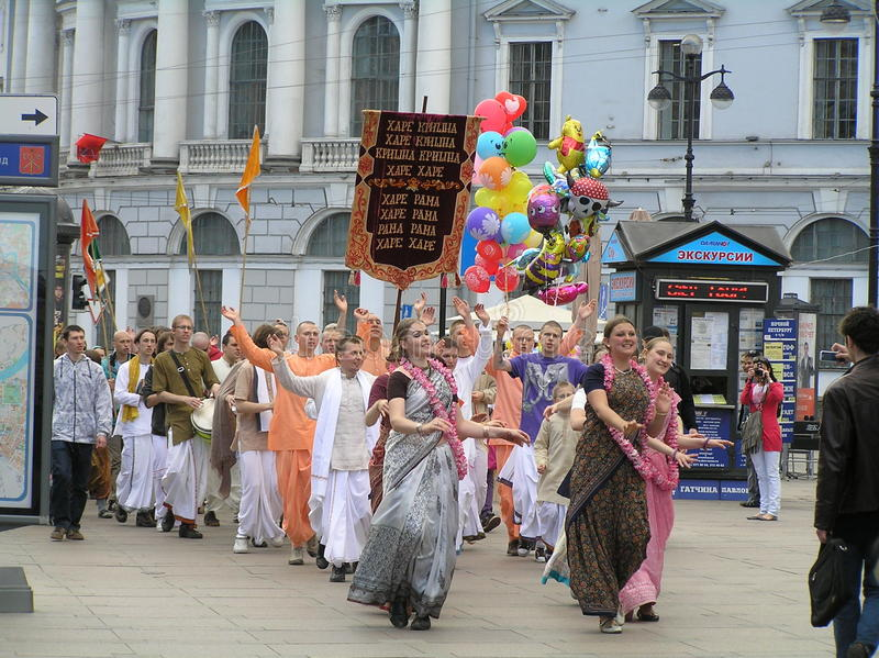 Hare Krishna procession in St. Petersburg royalty free stock photo