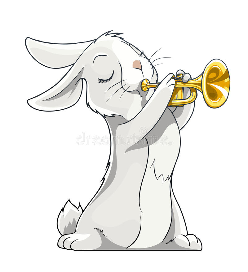 Hare playing trumpet. Vector illustration on white background stock illustration
