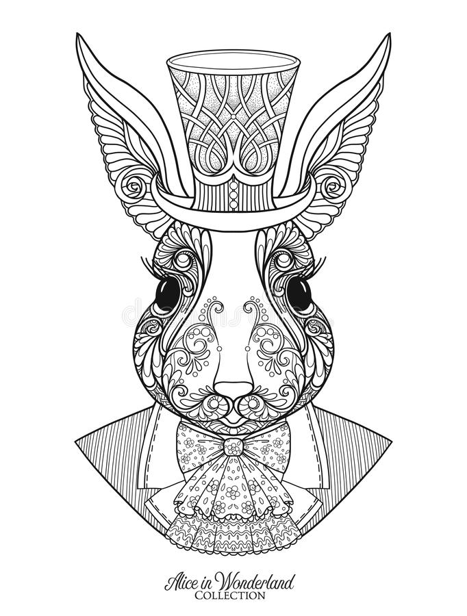Hare or rabbit in the hat from the fairy tale Alice in Wonderla royalty free illustration