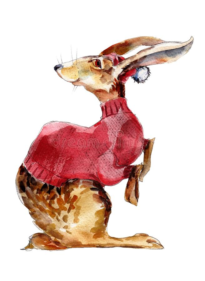 Hare in red sweater watercolor illustration, hand-drawn vintage isolated object on white. royalty free illustration