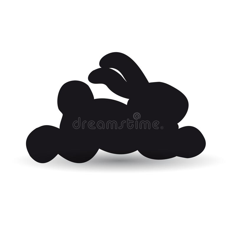 Hare running black white background. Vector image for website. vector illustration