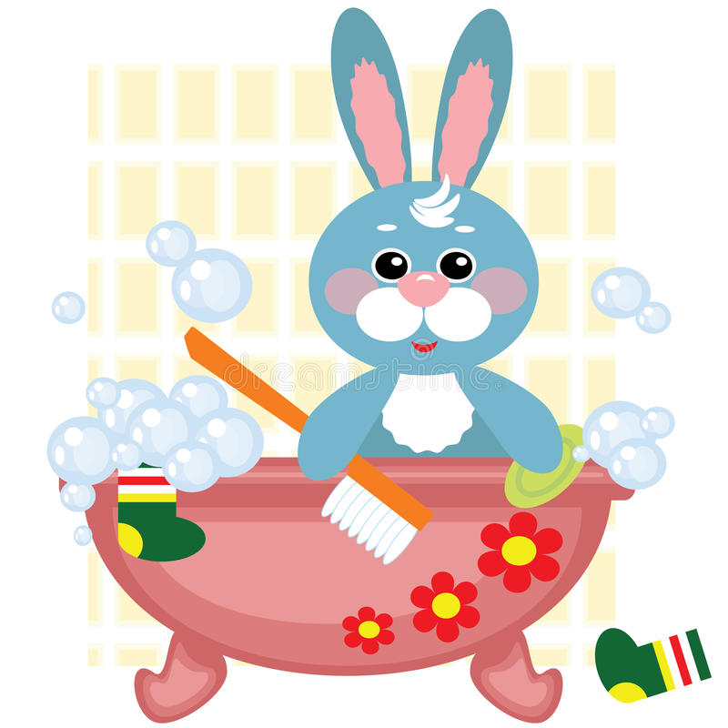 Free Hare Showering In The Bath Royalty Free Stock Photos - 24627068