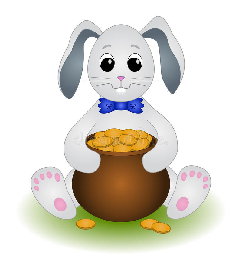 Hare sits with a pot of gold vector illustration