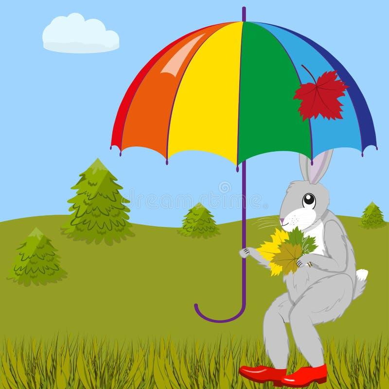 Hare under umbrella vector illustration