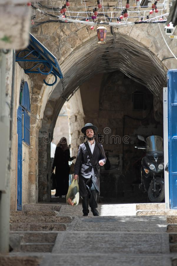 Haredi εξαιρετικά ορθόδοξος Εβραίος στη Mea Shearim στοκ φωτογραφία με δικαίωμα ελεύθερης χρήσης