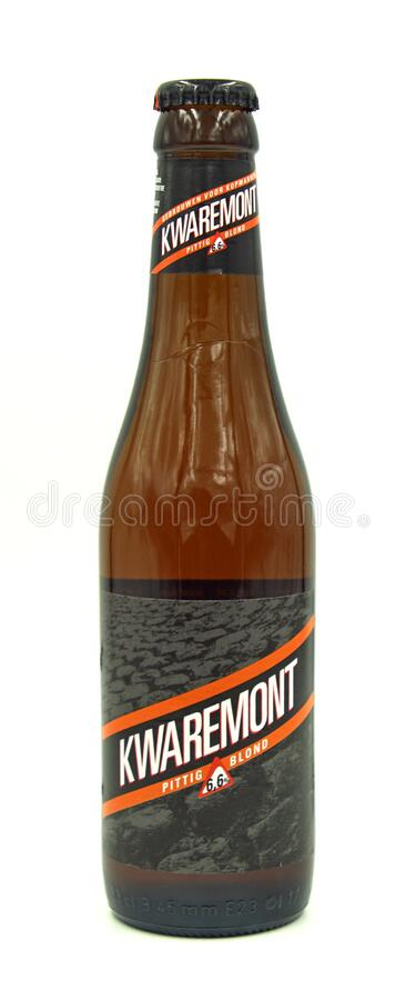 Bottle of Bavik Kwaremont Blond beer. Harelbeke, Belgium - May 8, 2020: Bottle of Bavik Kwaremont Blond beer, a Belgian Golden Pale Ale styled beer, brewed by royalty free stock photo