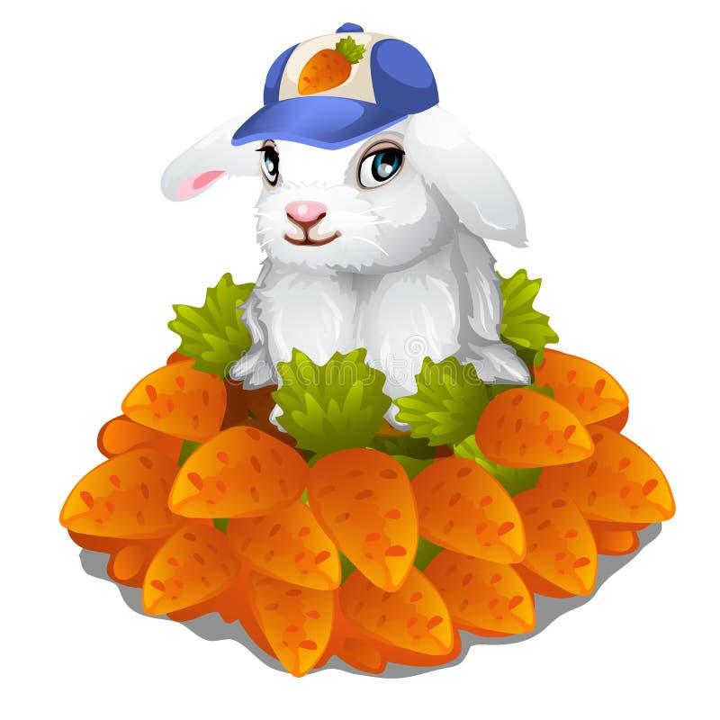 Haren i lock sitter i hög av morötter Påsksymbol royaltyfri illustrationer