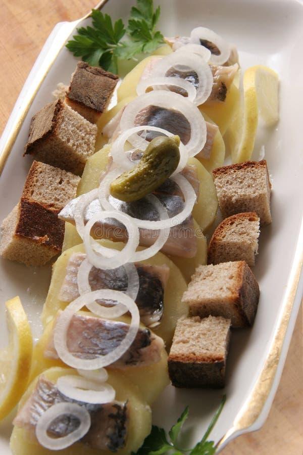 Harengs avec des pommes de terre. images stock