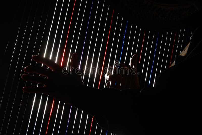 Harfa instrumentu sznurki fotografia stock