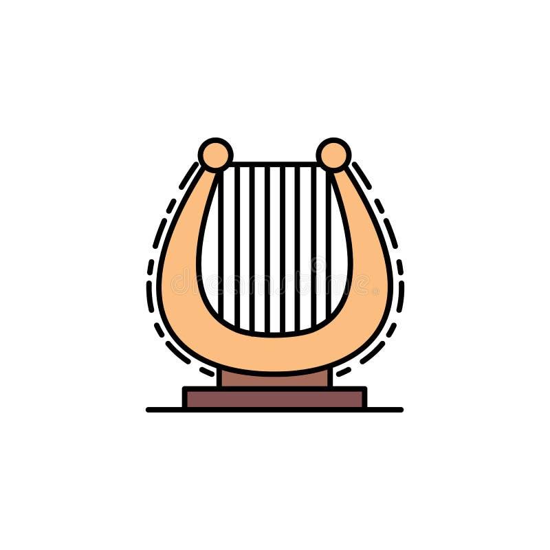 harfa, muzyka i instrument ikona, Element historia koloru ikona dla mobilnych pojęcia i sieci apps Koloru harfa, muzyka i instrum ilustracji