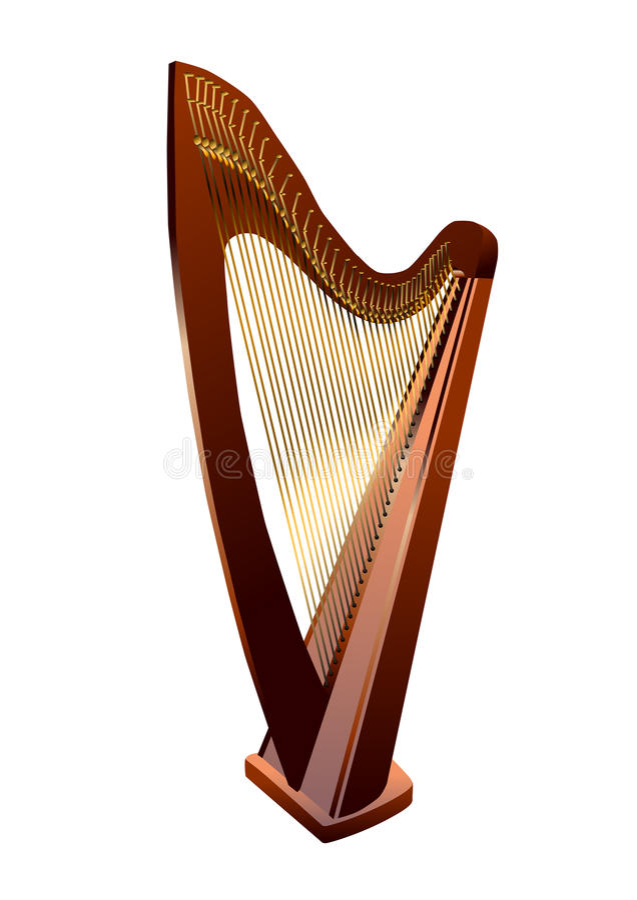 Harfa na bielu ilustracji