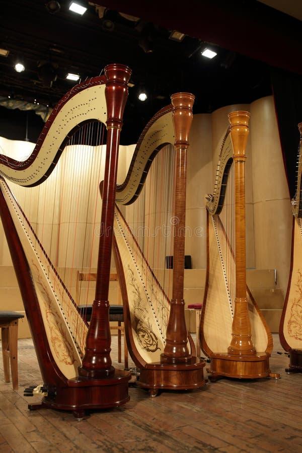 Harfa na scenie fotografia royalty free