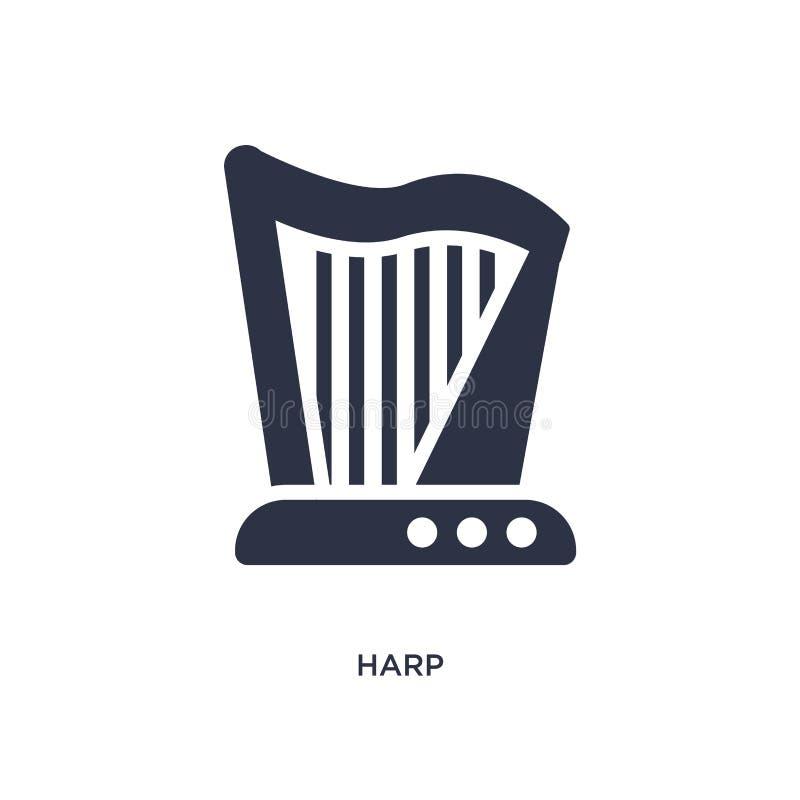 Harfenikone auf weißem Hintergrund Einfache Elementillustration vom Musikkonzept vektor abbildung