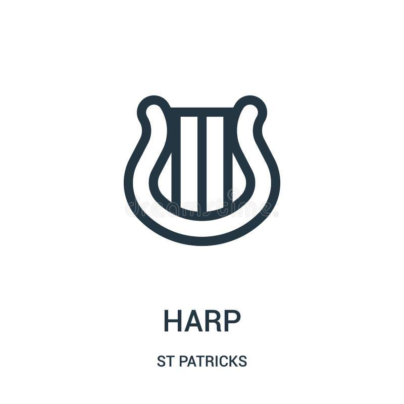 Harfenikonenvektor von St.-patricks Sammlung Dünne Linie Harfenentwurfsikonen-Vektorillustration Lineares Symbol für Gebrauch auf stock abbildung