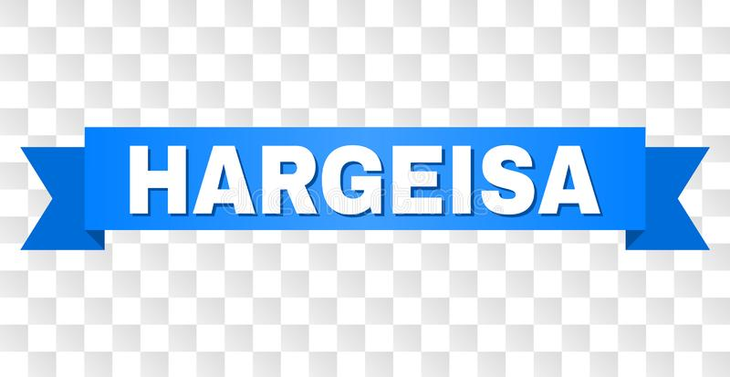 Blue Tape with HARGEISA Text. HARGEISA text on a ribbon. Designed with white caption and blue stripe. Vector banner with HARGEISA tag on a transparent background stock illustration