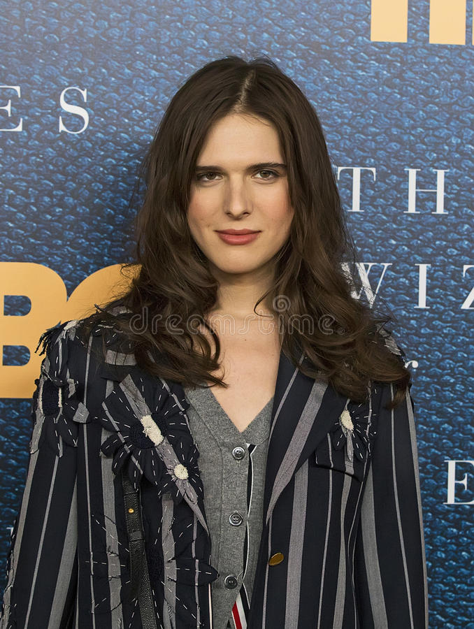 Hari Nef. Hari Nef, a transsexual woman model and actress, arrives for the New York City premiere of HBO`s film, `The Wizard of Lies,` at the Museum of stock photography
