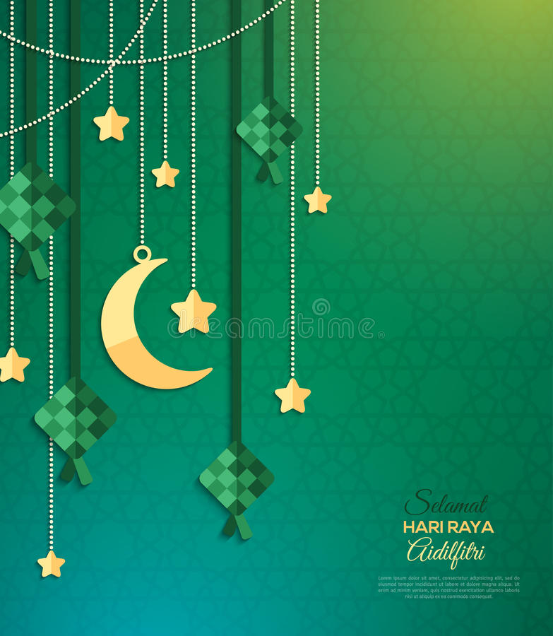 Hari Raya kartka z pozdrowieniami na zieleni ilustracja wektor