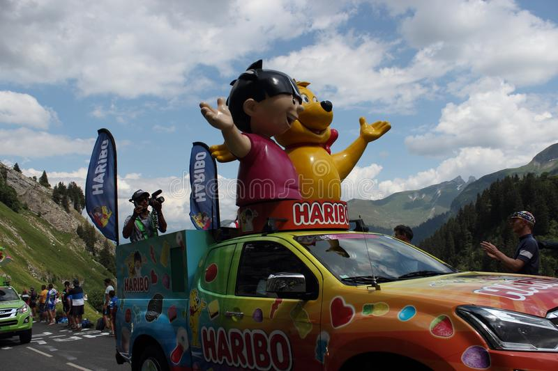 Haribo-Auto Tour de France 2018 lizenzfreie stockfotos