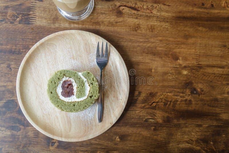 Haricot rouge de thé vert de petit pain de pâtisserie photo stock
