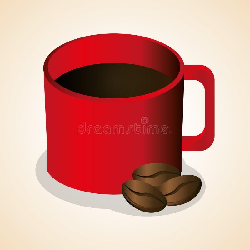 haricots chauds rouges de tasse de café illustration stock