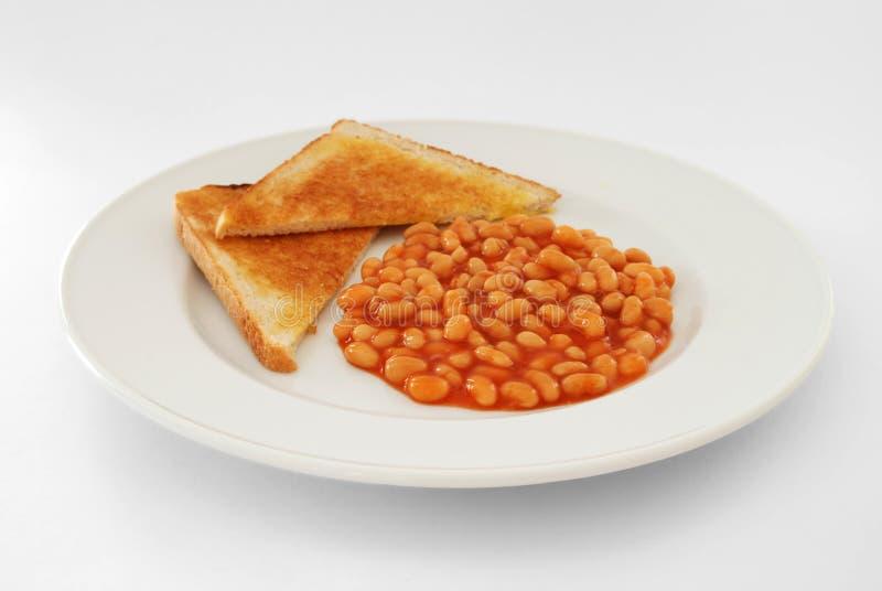 Haricots cuits au four sur le pain grillé photographie stock libre de droits