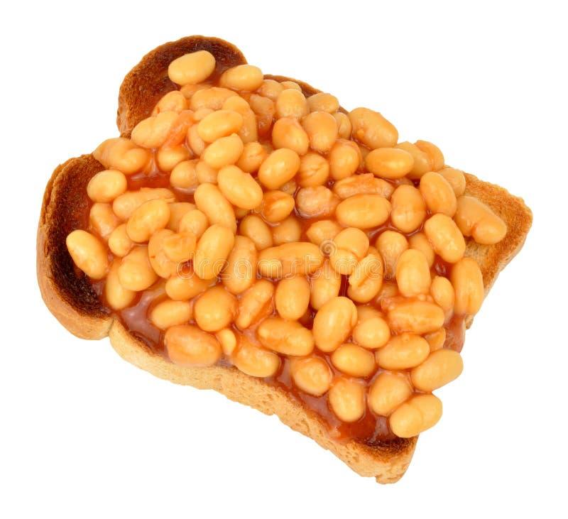 Haricots cuits au four sur le pain grillé photographie stock