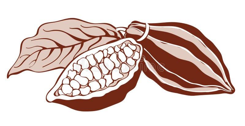 Haricots de cacao illustration stock