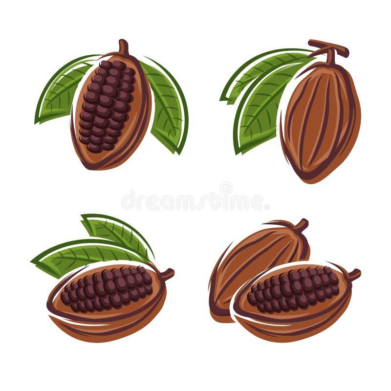 Haricots de cacao réglés. Vecteur illustration de vecteur