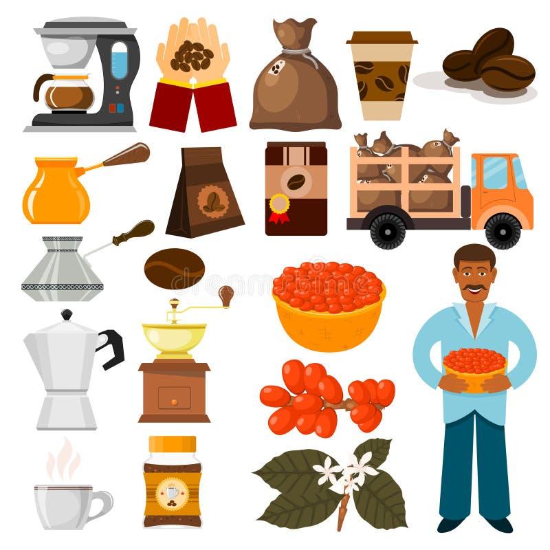 Haricots de vecteur de plantation de café, arbre et illustration de café-haricot de café de transport illustration libre de droits