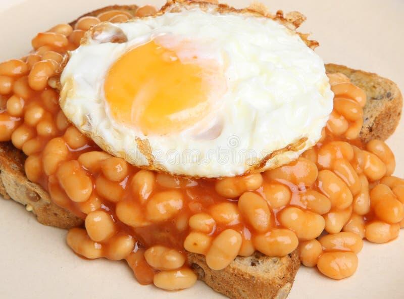 Haricots et Fried Egg cuits au four sur le pain grillé images stock