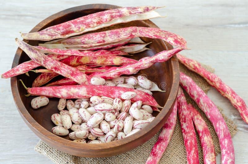 Haricots nains rouges dans la cuvette en bois, plan rapproché, photos stock