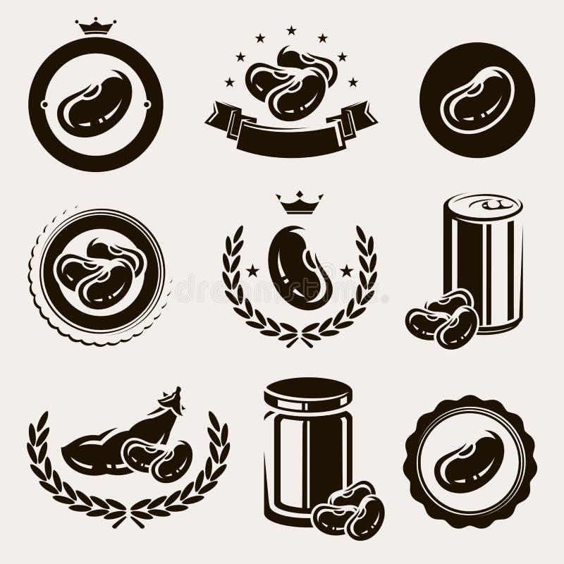 Haricots réglés. Vecteur illustration stock