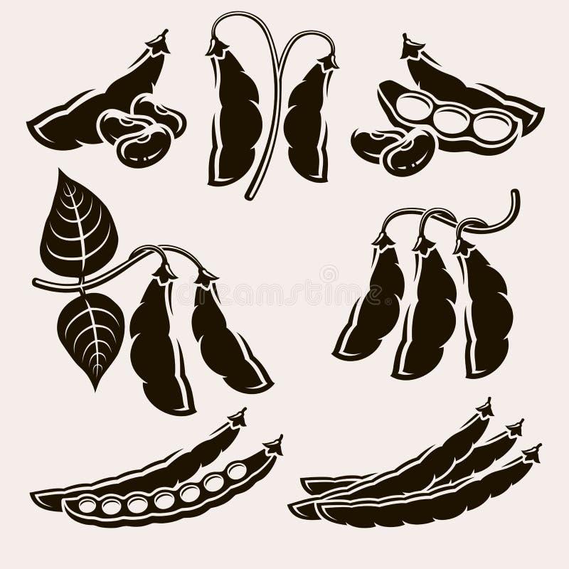Haricots réglés Vecteur illustration stock