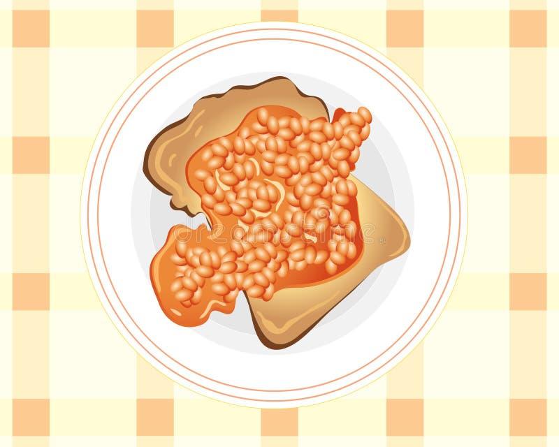 Haricots sur le pain grillé illustration stock