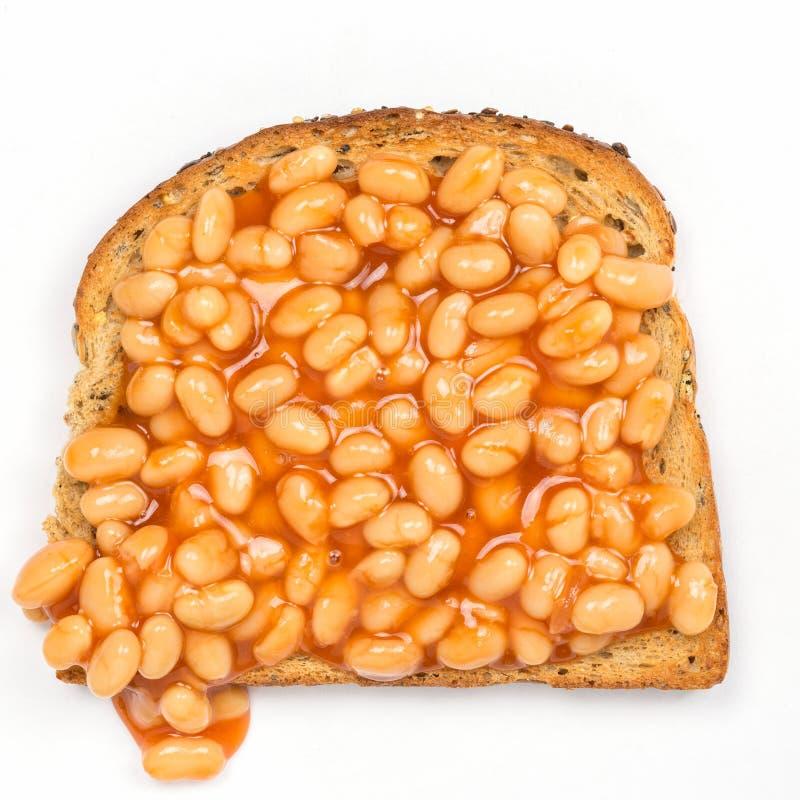 Haricots sur le pain grillé photo libre de droits