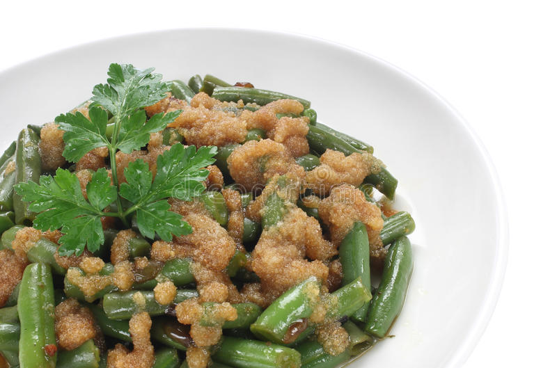 Haricots verts cuits photo stock