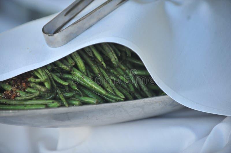 Haricots verts tout préparés photographie stock libre de droits